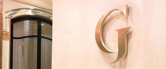 G creative interior wall aluminum cut design idea