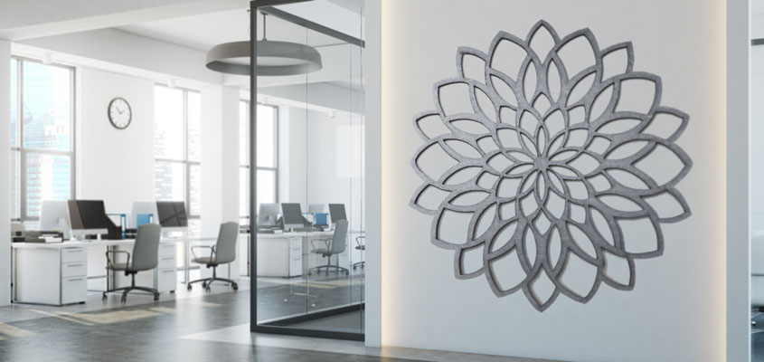 creative flower shaped laser engraved decor for wall design
