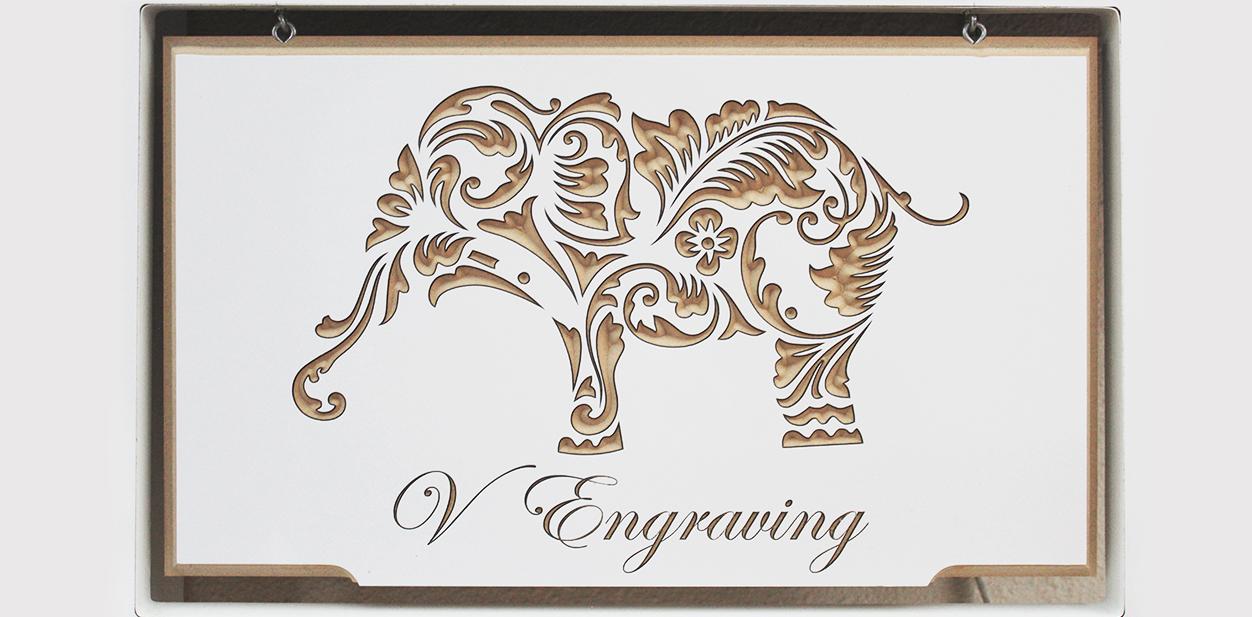 Engraved decorative elephant mural idea for inspiration