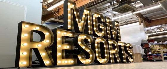MGM Resorts illuminated branded company name design