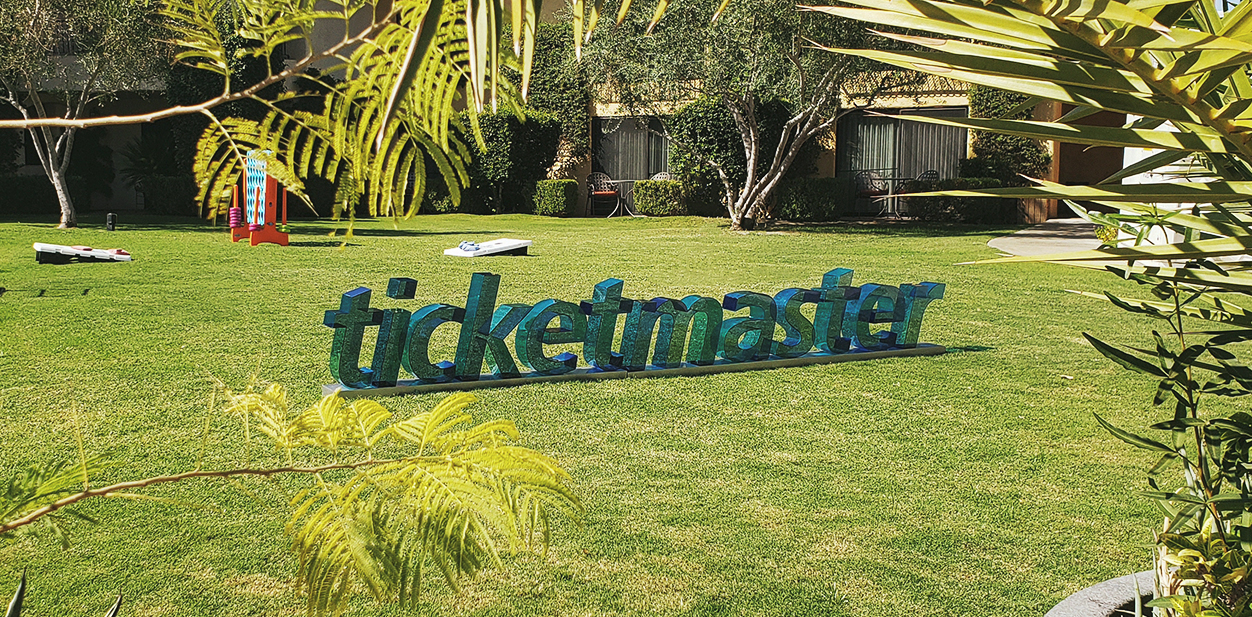 Laser cut idea with letters displaying the brand name from Ticketmaster