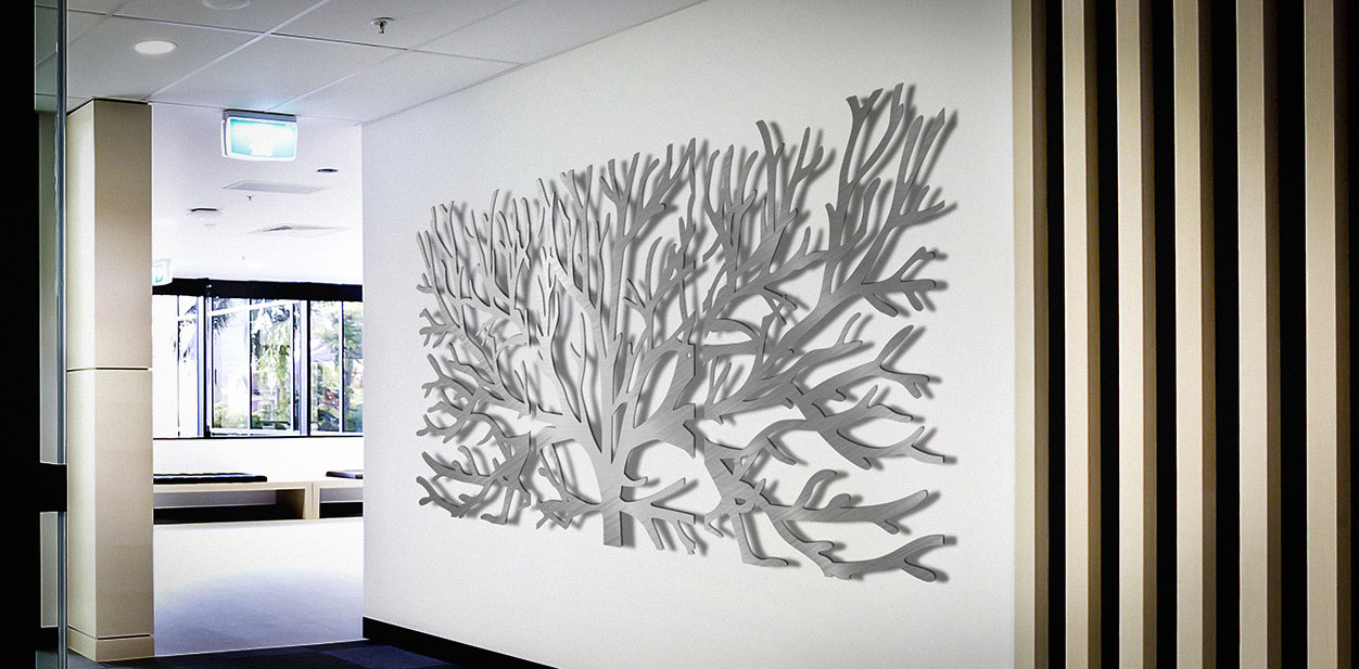 Creative tree shaped laser engraved decor for wall design