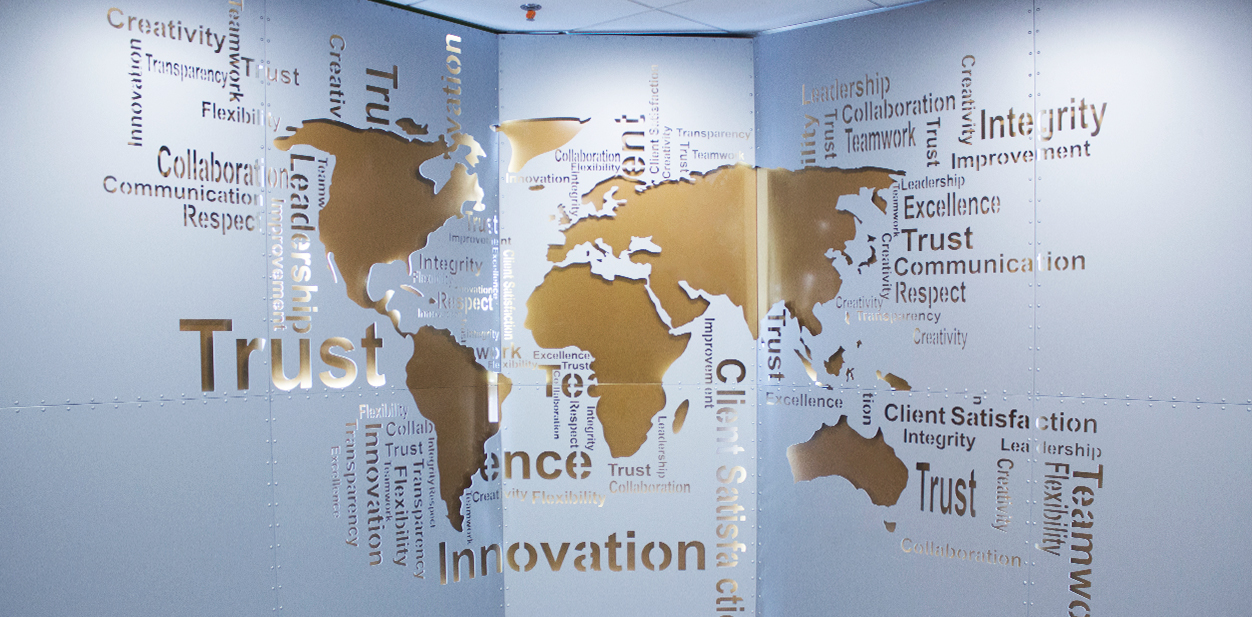 Great laser engraving idea displaying the world map on the office wall
