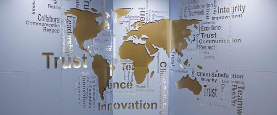 wall map metallic engraved interior wall design idea