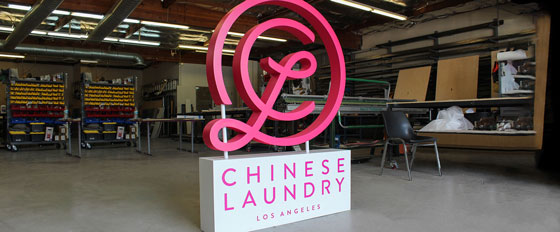 Chinese Laundry mixed material branded display