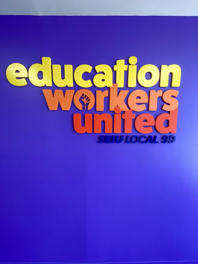 Education Workers United custom 3d sign painted in yellow, orange, and red made of acrylic