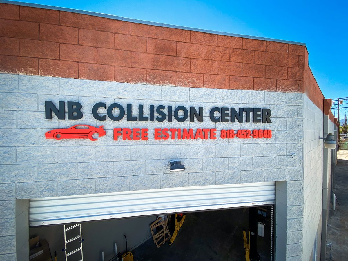 NB Collision Center 3d logo sign and letters along with the business contact number made of PVC for storefront branding