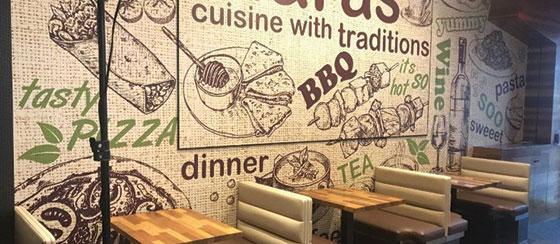 restaurant branded wall art idea
