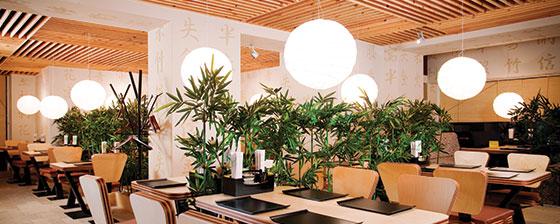 restaurant ceiling design concept with decorative lights