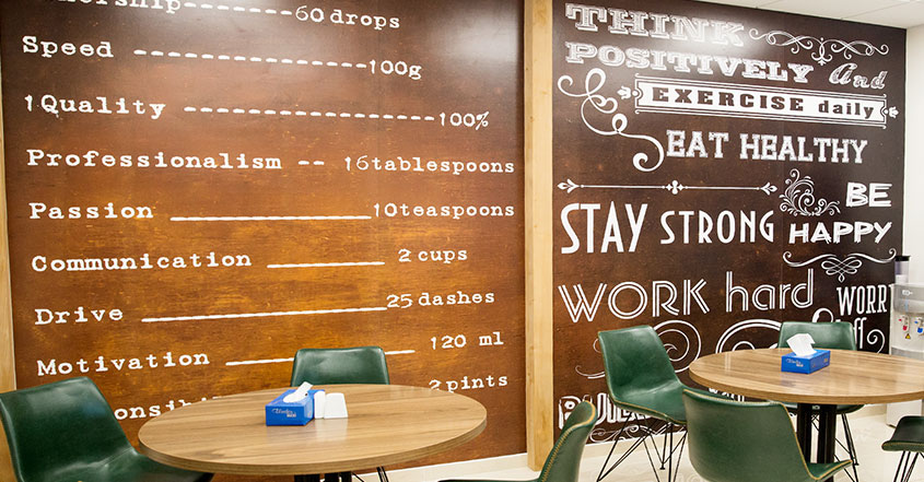 restaurant interior design theme with menu and motivation wall quotes