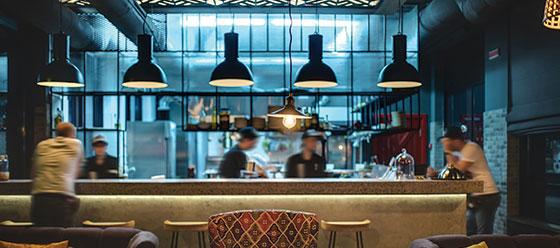 restaurant kitchen design concept in blue