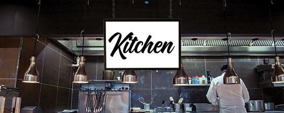 restaurant kitchen space illuminated design solution