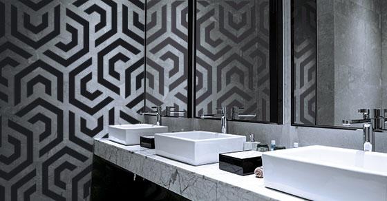 restaurant restroom wall art idea