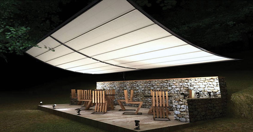 restaurant seating area design with a huge tent
