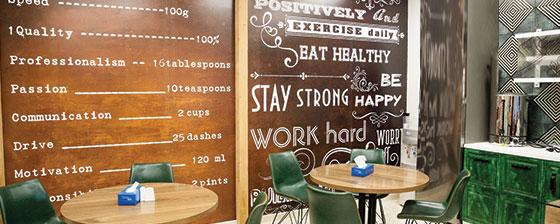 restaurant interior thematic wall design idea