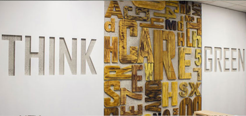 wall design with cool laser cut letter shapes