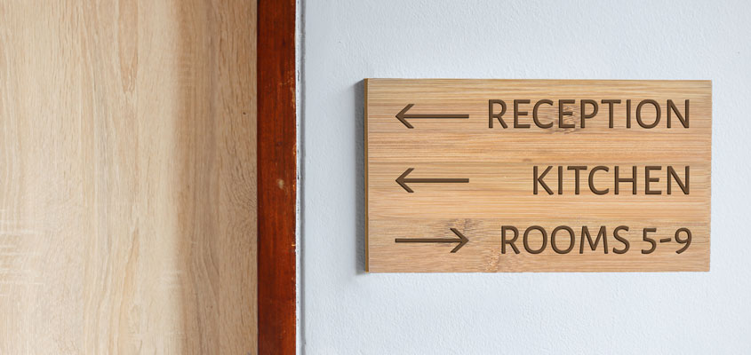 wood cut project on a directional interior board
