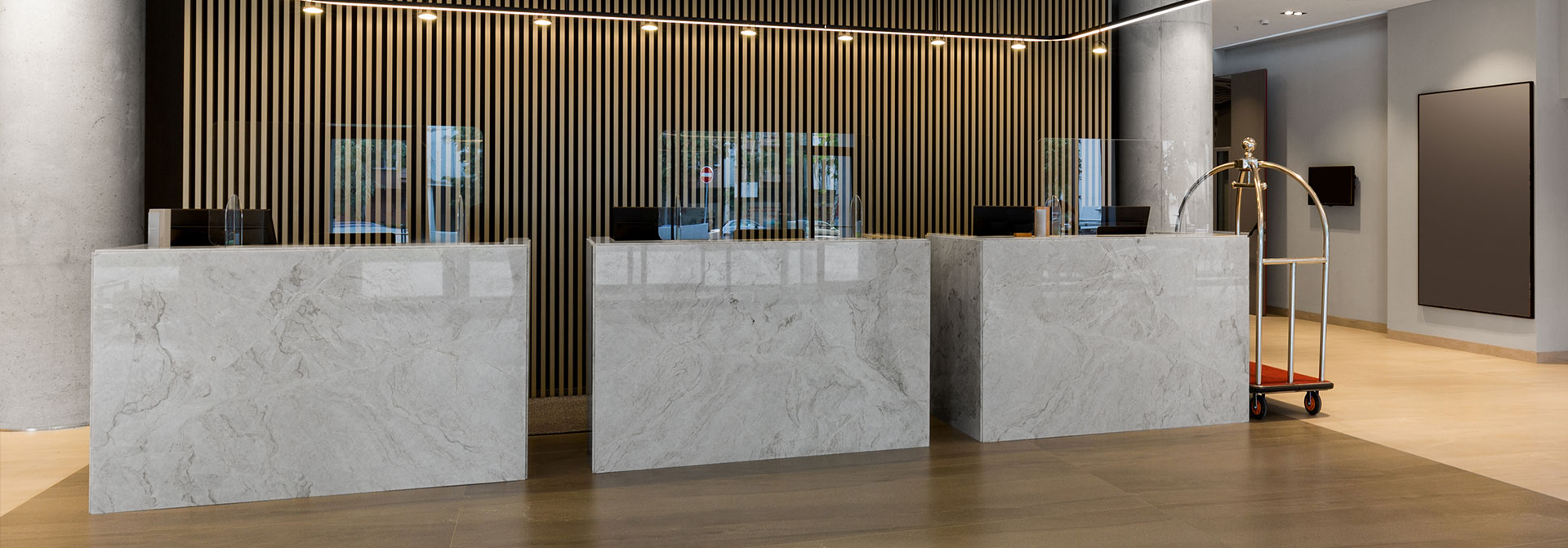 reception space sneeze guards as a safety measure
