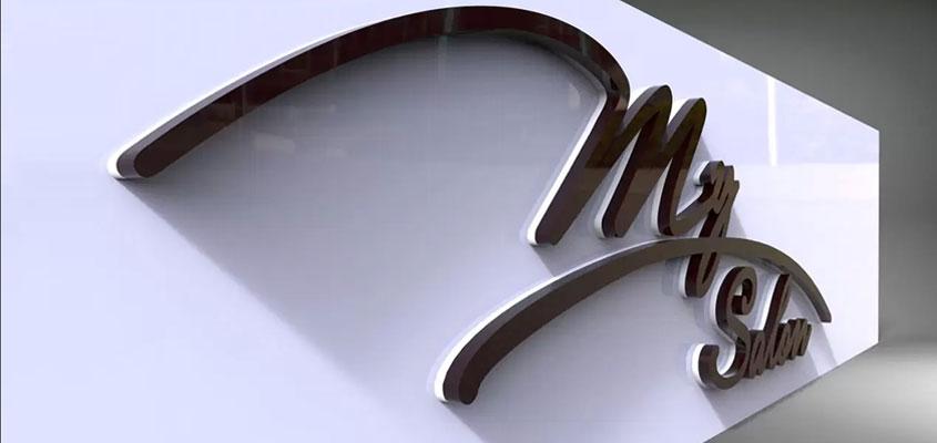 3D rendered interior signage design example