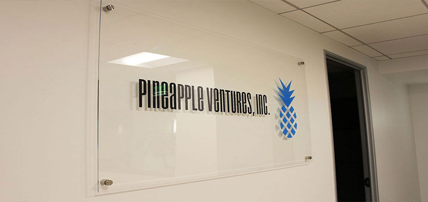 Example from Pineapple Ventures as an idea for how to design an acrylic signage