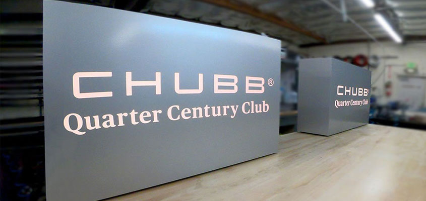 Example from Chubb as an idea for how to design an aluminum business sign