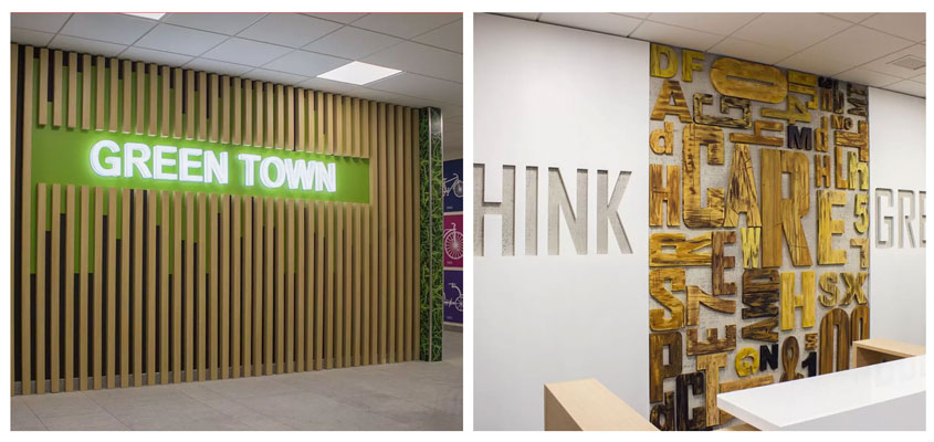 Ameriabank engraved wooden interior designs to boost productivity