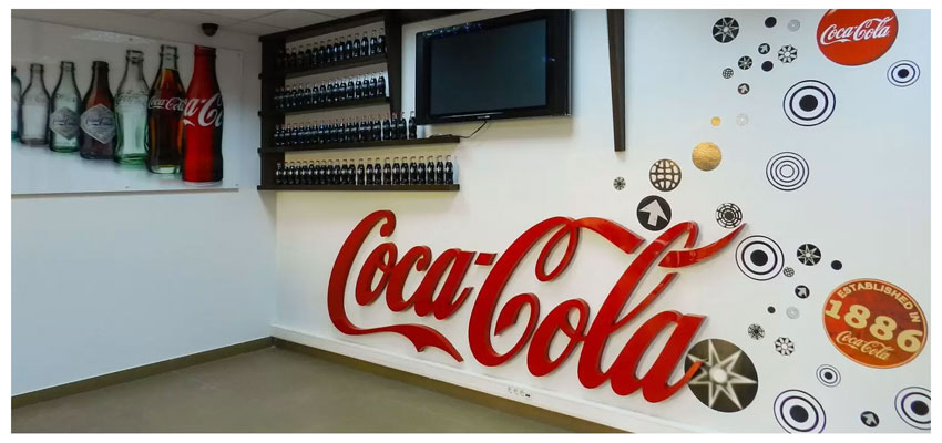 CocaCola interior branding with creative signs and designs