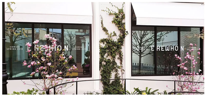 Erewhon cute window signage design idea to express brand aesthetic