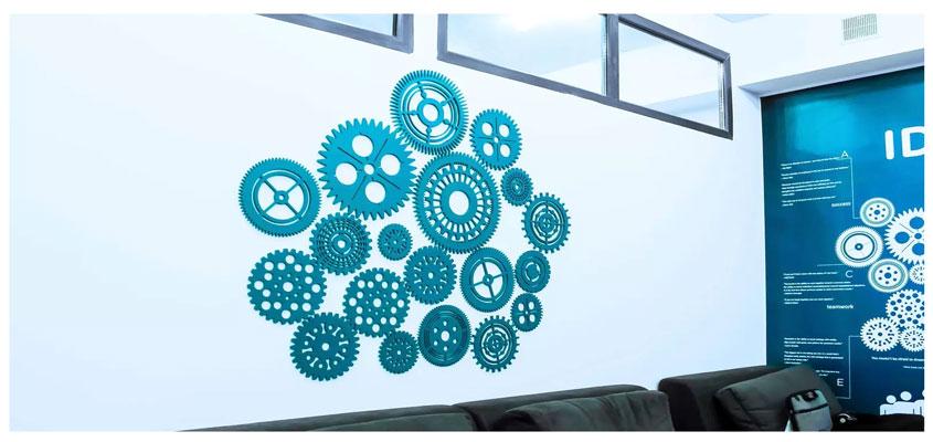Gatsoft creative interior sign designs with clockwork mechanisms