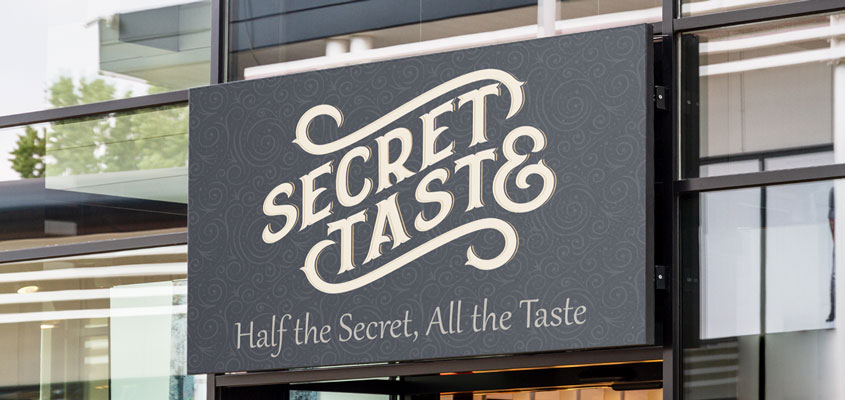 Sign typeface example from Secret Taste for showing how to design a business sign