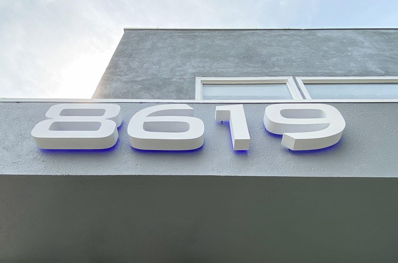 Backlit white letters