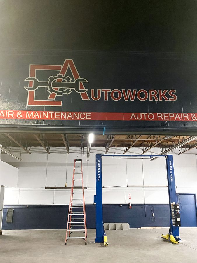 EA autoworks painted sign