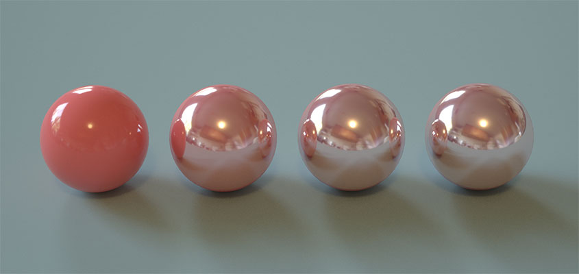 Photo example with pink balls for showing how to 3D render a photo with different shadings