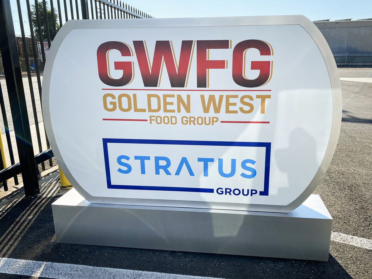 Stratus Group custom light box in a free standing style made of aluminum and acrylic for outdoor brand visibility