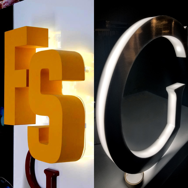 yellow reverse channel letters made of acrylic and aluminum versus a halo-lit sign