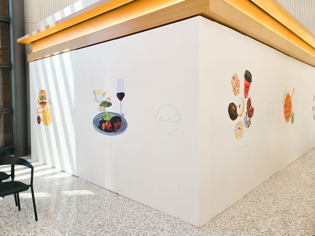 Halo custom interior wall signs with food graphics made of opaque vinyl for restaurant indoor design and decorating