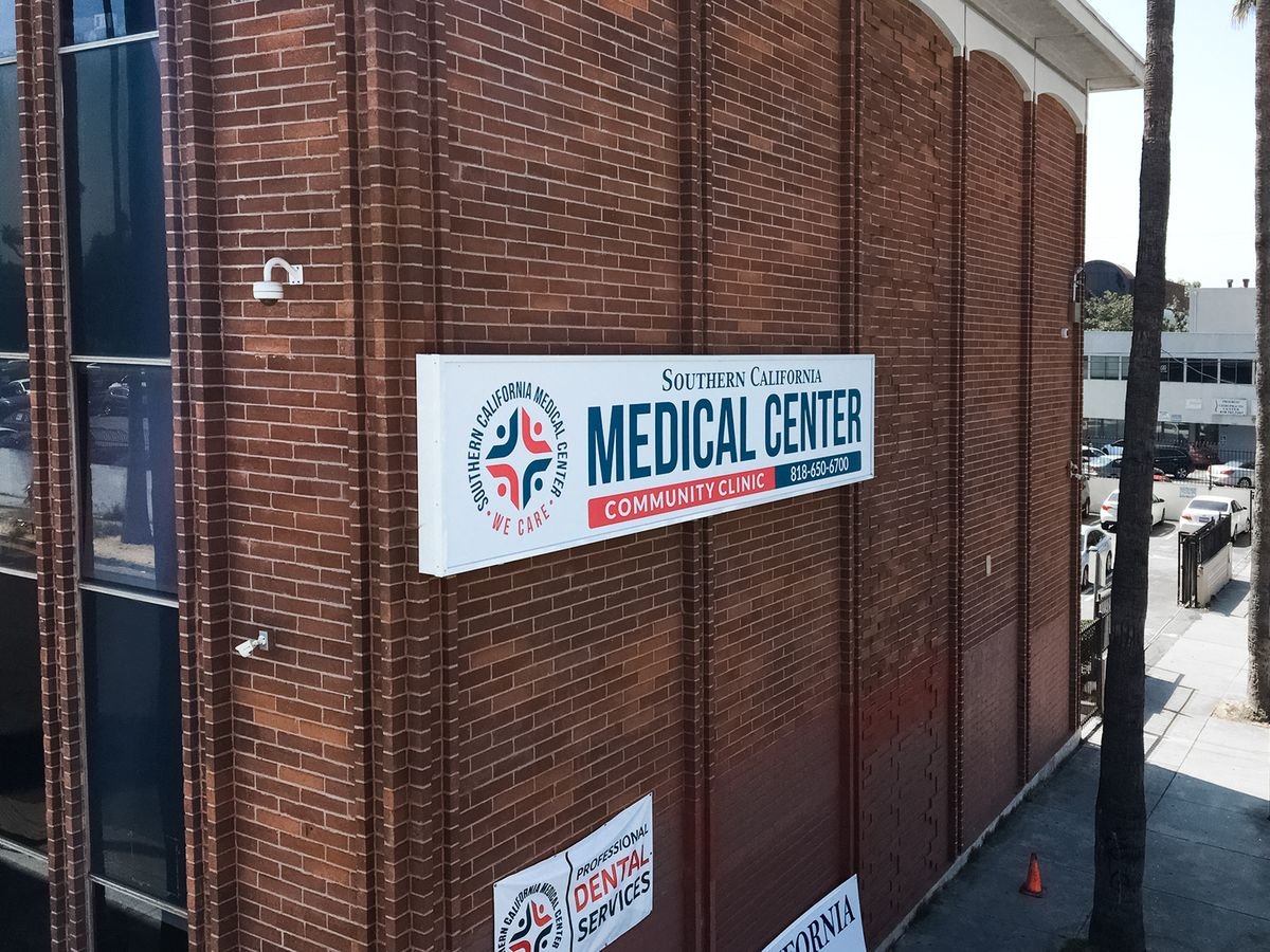 Southern California Medical Center large light box in white color made of aluminum and acrylic