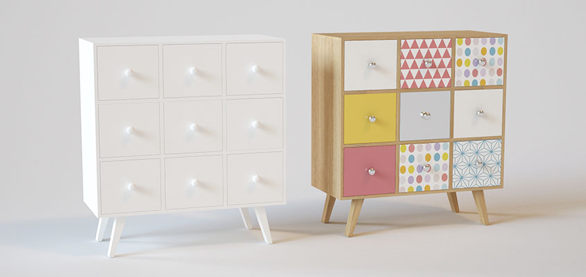 Interior dressers' visualization example for showing how to render a product design