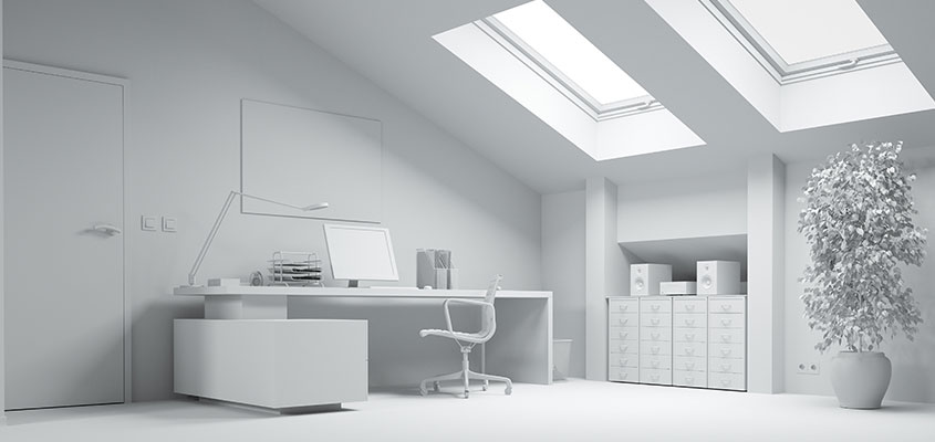 Interior design visualization example for showing how to 3D render a photo