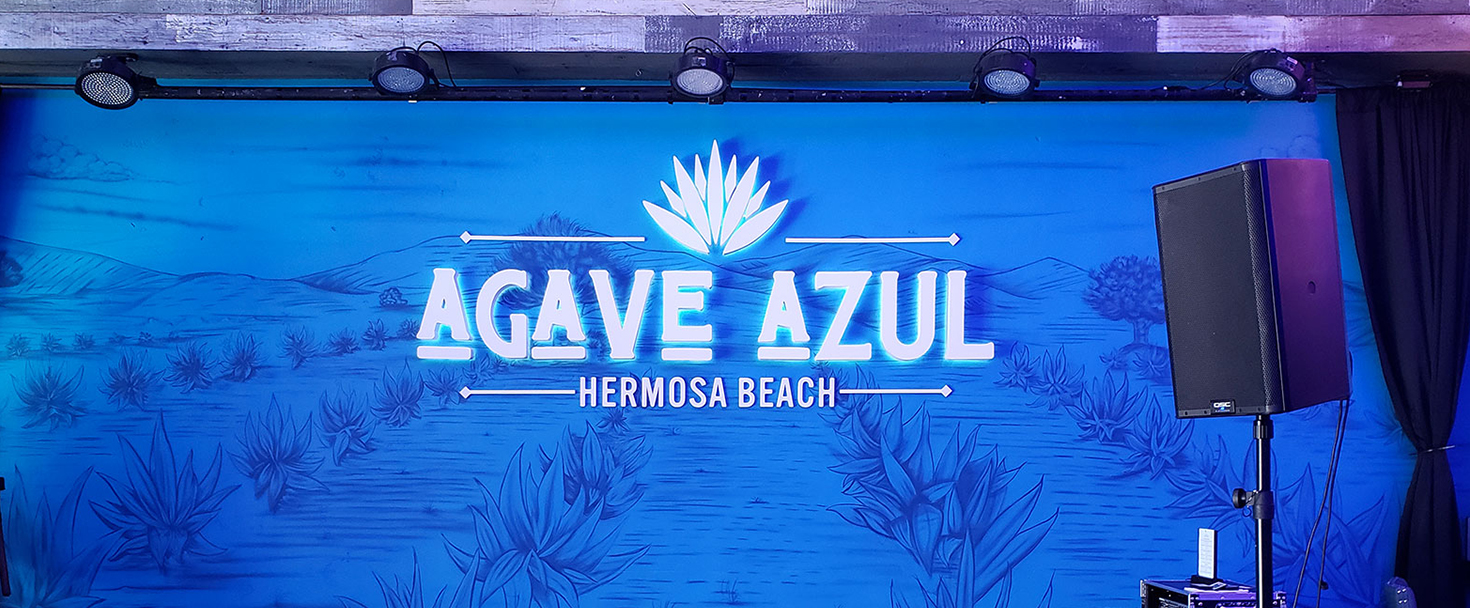 Agave Azul backlit channel letters and logo in white made of aluminum and lexan