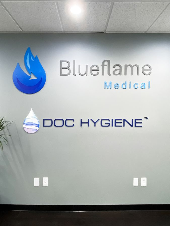Blueflame Medical & Doc Hygiene 3d metal sign custom-made of aluminum for interior design