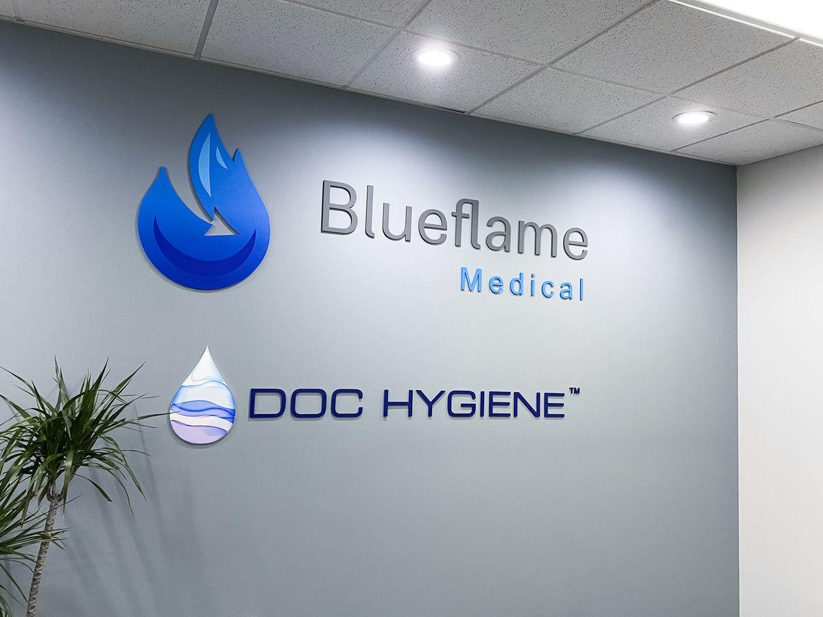 Blueflame Medical & Doc Hygiene 3d office sign custom-made of aluminum for interior branding