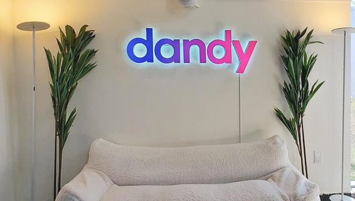 Dandy dual lit letters in different colors made of aluminum and acrylic