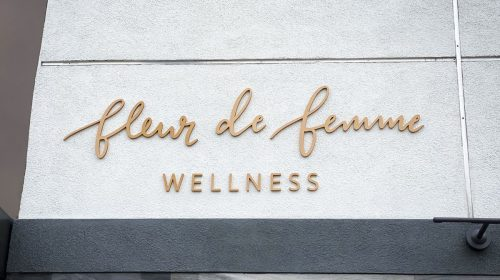 Fleur De Femme Wellness 3d sign letters painted in gold color made of PVC for branding