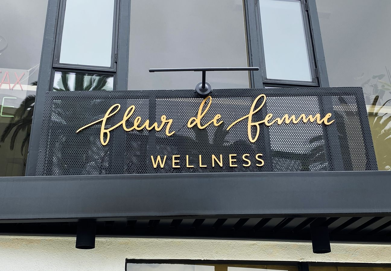 Fleur De Femme Wellness 3d plastic letters sign painted in gold color made of PVC