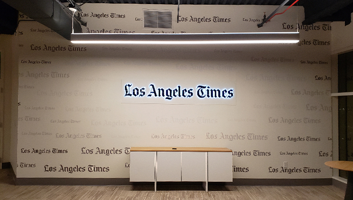 LA Times backer panel-mounted backlit letters made of aluminum and acrylic