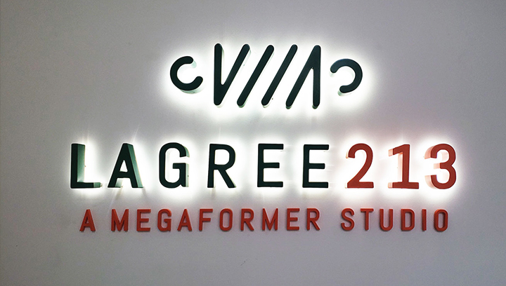 Lagree 213 wall mounted backlit letter sign made of aluminum and acrylic