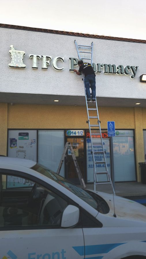pharmacy LED letters installation