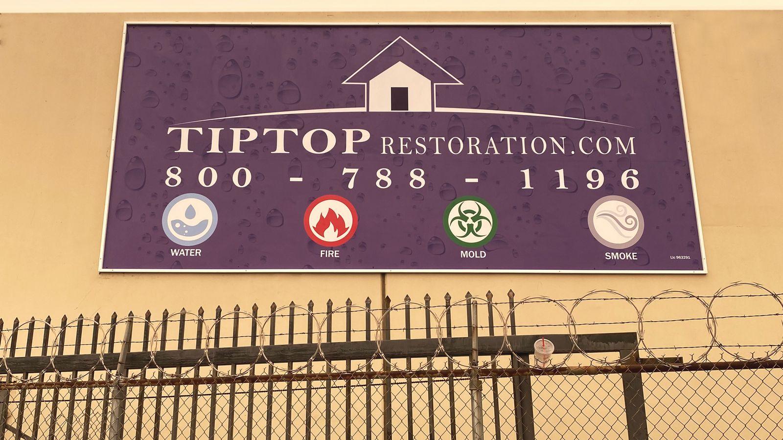 tip top restoration aluminum sign