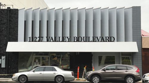 Valley Boulevard 3d sign with the brand name and address number made of aluminum and acrylic